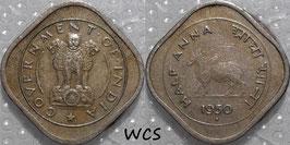 India ½ Anna 1950 B KM#2.1 VF