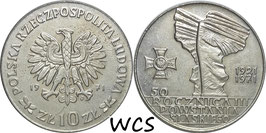 Poland 10 Zlotych 1971 - 50th Anniversary Battle of Upper Silesia Y#64 XF