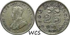 Ceylon 25 Cents 1920 B KM#105a VF-