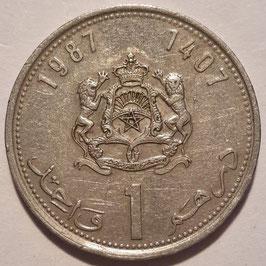 Morocco 1 Dirham 1987 (1407) Y#88