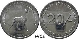 Somaliland 20 Shillings 2002 KM#6 UNC
