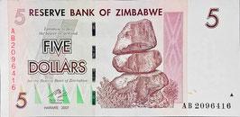 Zimbabwe 5 Dollars 2007 P.66 XF