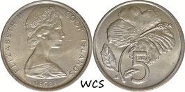 Cook Islands 5 Cents 1973 KM#3 UNC