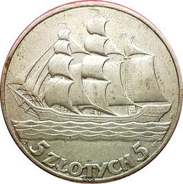 Poland 5 Zlotych 1936 W - 15th Anniversary of Gdynia Seaport Y#31 VF