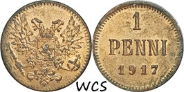Finland 1Penni1917 Cevil War KM#16 VF+