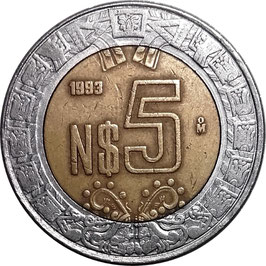 Mexico 5 New Pesos 1992-1995 KM#552