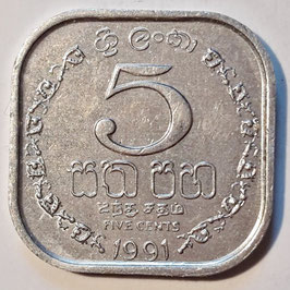 Sri Lanka 5 Cents 1978-1991 KM#139a