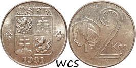 Czechoslovakia 2 Koruny 1991 -1992 KM#148