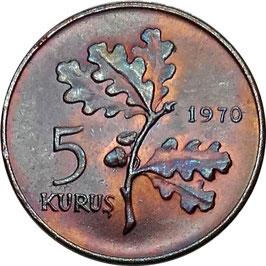 Turkey 5 Kurus 1969-1973 KM#890.2