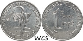 West African States 1 Franc 1976-2011 KM#8