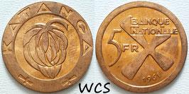 Katanga 5 Francs 1961 KM#2 UNC-