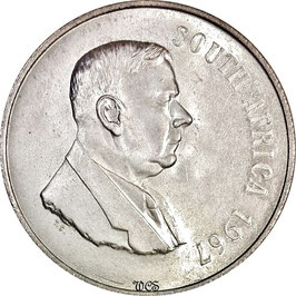 South Africa 1 Rand 1967 SOUTH AFRICA - 1st Anniversary - Death of Dr. Verwoerd KM#72.1 XF