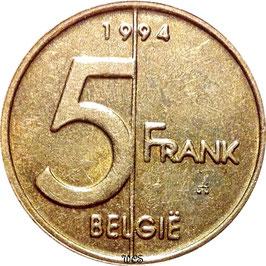 Belgium 5 Francs 1994-2001 BELGIE KM#190