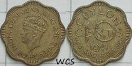 Ceylon 10 Cents 1944 KM#118 VF