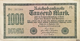 Germany 1000 Mark 15.09.1922 Ro 75b Printer: PL