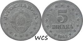 Yugoslavia 5 Dinara 1945 KM#28 VF