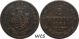 Saxony 2 Pfennige 1864 B KM#1217 VF-