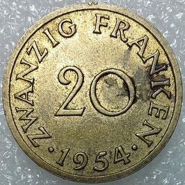 Saarland 20 Franken 1954 KM#1 VF-