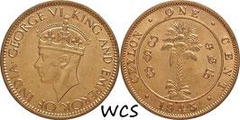 Ceylon 1 Cent 1945 KM#111a UNC