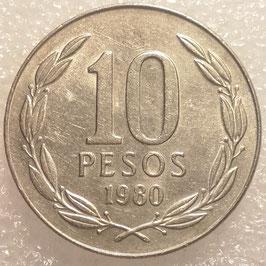 Chile 10 Pesos 1976-1980 KM#210