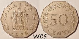 Malta 50 Cents 1972-1981 KM#12
