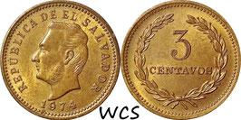 El Salvador 3 Centavos 1974 KM#148 XF