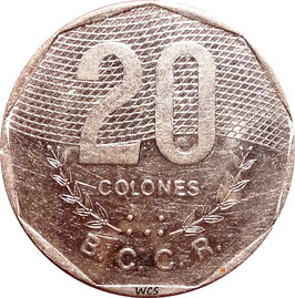 Costa Rica 20 Colons 1994 KM#216.3 VF