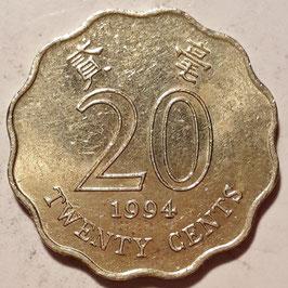 Hong Kong 20 Cents 1993-1998 KM#67