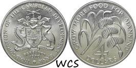 Barbados 4Dollars1970 F.A.O. KM#A9 UNC
