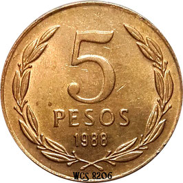 Chile 5 Pesos 1988-1990 Narrow Date KM#217.2