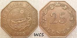 Malta 25 Cents 1975 KM#29 VF - 1st Anniversary of Republic of Malta