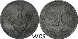 Poland 20 Fenigow 1917 FF Y#7 VF