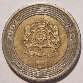 Morocco 5 Dirham 2002 (1423) Y#109 VF-