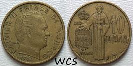 Monaco 10 Centimes 1962 KM#142 VF