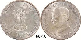 India 10 Rupees 1969 Calcutta - Centennial - Birth of Mahatma Gandhi KM#185 XF