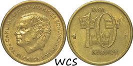 Sweden 10 Kronor 1991 D KM#895 VF