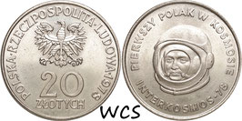 Poland 20 Zlotych 1978 - First Polish Cosmonaut  Y#97 XF