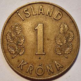Iceland 1 Krone 1957-1975 KM#12a