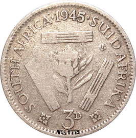 South Africa 3 Pence 1945 KM#26 F