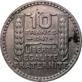 France 10 Francs 1945-1947 large head KM#908.1