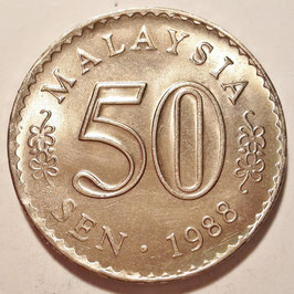 Malaysia 50 Sen 1971-1988 KM#5.3 (inscripted edge)