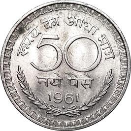 India 50 Naye Paise 1961 Mumbai KM#55 VF+