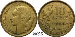 France 10 Francs 1954 KM#915.1 VF+