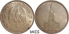Germany - Third Reich 5 Reichsmark 1934 F KM#83 VF - 1st Anniversary of Nazi Rule - Potsdam Garrison Church