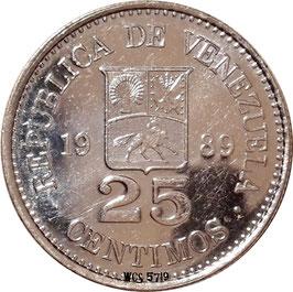Venezuela 25 Centimos 1989-1990 Y#50a