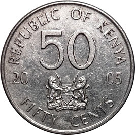Kenya 50 Cents 2005-2009 KM#41
