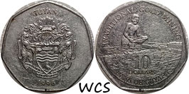 Guyana 10 Dollars 1996-2018 KM#52