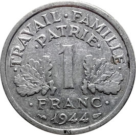 France 1 Franc 1943-1944 Beaumont-le-Roger KM#902.2 VF