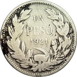 Chile 1 Peso 1921 KM#152.5 F