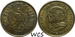 Guatemala 1 Centavo 1985-1992 KM#275.3